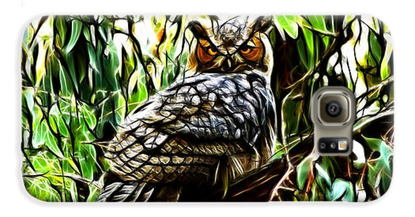 Fractal-s -great Horned Owl - 4336 Samsung Galaxy Case by James Ahn