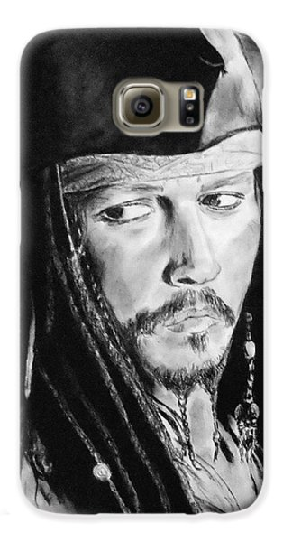 Johnny Depp As Captain Jack Sparrow In Pirates Of The Caribbean II Galaxy S6 Case by Jim Fitzpatrick