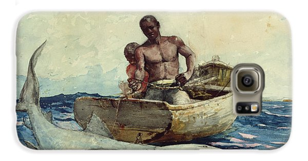 Shark Fishing Galaxy S6 Case by Winslow Homer