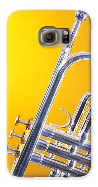 Silver Trumpet Isolated On Yellow Galaxy S6 Case by M K  Miller