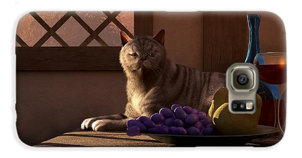 Still Life With Wine Fruit And Cat Samsung Galaxy Case by Daniel Eskridge
