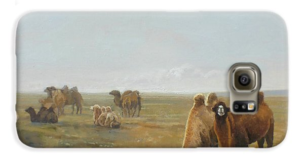 Camels Along The River Galaxy S6 Case by Chen Baoyi
