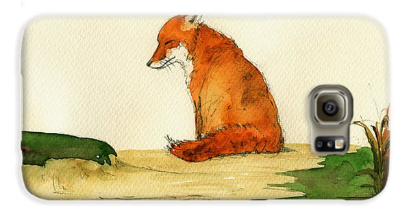 Fox Sleeping Painting Galaxy S6 Case by Juan  Bosco