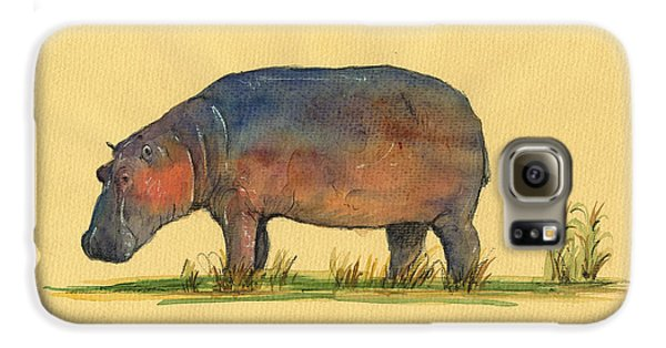 Hippo Watercolor Painting  Galaxy S6 Case by Juan  Bosco