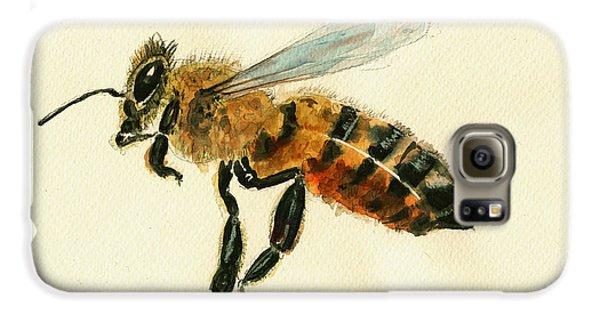 Honey Bee Watercolor Painting Galaxy S6 Case by Juan  Bosco