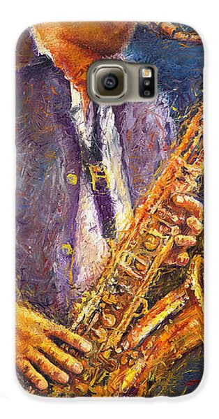 Jazz Saxophonist Galaxy S6 Case by Yuriy  Shevchuk