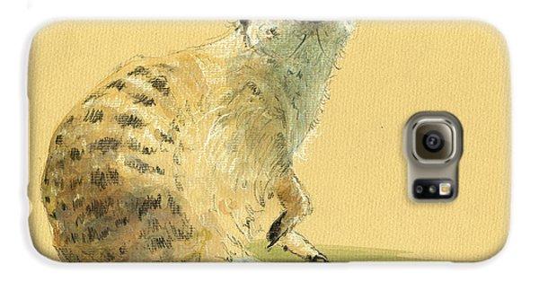 Meerkat Or Suricate Painting Galaxy S6 Case by Juan  Bosco