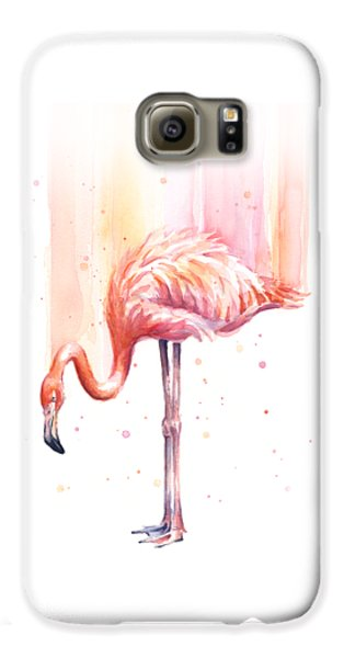 Pink Flamingo - Facing Right Galaxy S6 Case by Olga Shvartsur
