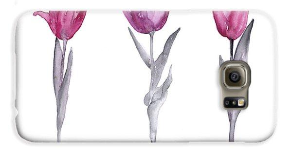 Purple Tulips Watercolor Painting Galaxy S6 Case by Joanna Szmerdt