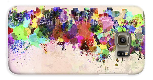 Tokyo Skyline In Watercolor Background Galaxy S6 Case by Pablo Romero