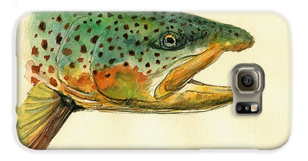 Trout Watercolor Painting Galaxy S6 Case by Juan  Bosco