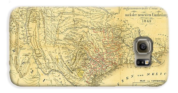 1849 Texas Map Galaxy S6 Case by Digital Reproductions