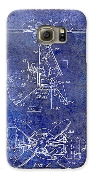 1956 Helicopter Patent Blue Galaxy S6 Case by Jon Neidert