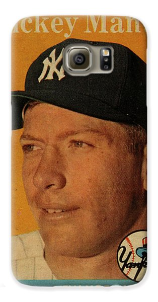 1958 Topps Baseball Mickey Mantle Card Vintage Poster Galaxy S6 Case by Design Turnpike