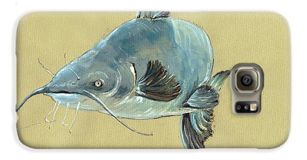 Channel Catfish Fish Animal Watercolor Painting Galaxy S6 Case by Juan  Bosco