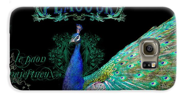 Elegant Peacock W Vintage Scrolls  Galaxy S6 Case by Audrey Jeanne Roberts