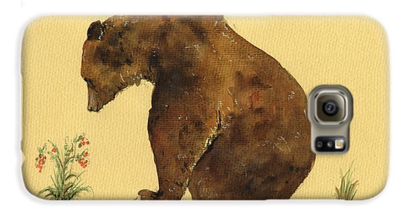 Grizzly Bear Watercolor Painting Galaxy S6 Case by Juan  Bosco