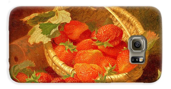 A Basket Of Strawberries On A Stone Ledge Galaxy S6 Case by Eloise Harriet Stannard