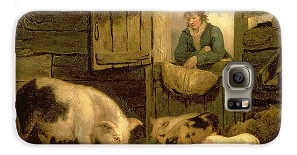 A Boy Looking Into A Pig Sty Galaxy S6 Case by George Morland