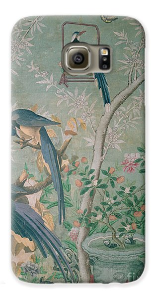 A Pair Of Magpie Jays  Vintage Wallpaper Galaxy S6 Case by John James Audubon