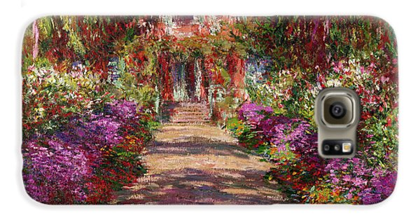 A Pathway In Monets Garden Giverny Galaxy S6 Case by Claude Monet