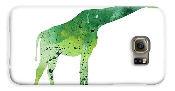 Abstract Green Giraffe Minimalist Painting Galaxy S6 Case by Joanna Szmerdt