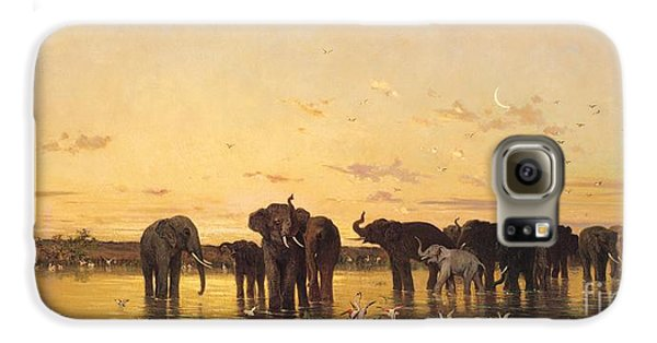 African Elephants Galaxy S6 Case by Charles Emile de Tournemine