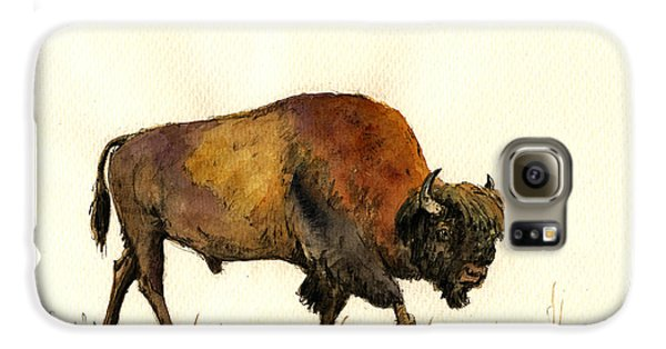 American Buffalo Watercolor Galaxy S6 Case by Juan  Bosco