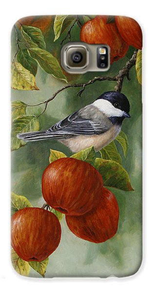 Apple Chickadee Greeting Card 2 Galaxy S6 Case by Crista Forest