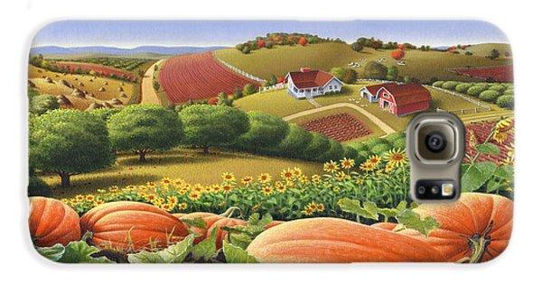 Farm Landscape - Autumn Rural Country Pumpkins Folk Art - Appalachian Americana - Fall Pumpkin Patch Galaxy S6 Case by Walt Curlee