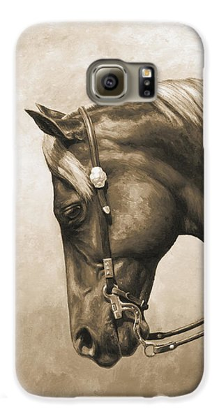 Western Horse Painting In Sepia Galaxy S6 Case by Crista Forest