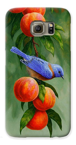 Bluebird And Peaches Greeting Card 1 Galaxy S6 Case by Crista Forest