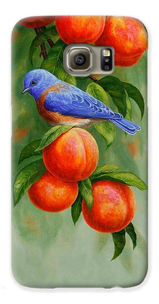 Bluebird And Peaches Greeting Card 2 Galaxy S6 Case by Crista Forest