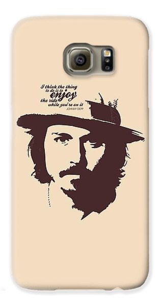 Johnny Depp Minimalist Poster Galaxy S6 Case by Lab No 4 - The Quotography Department