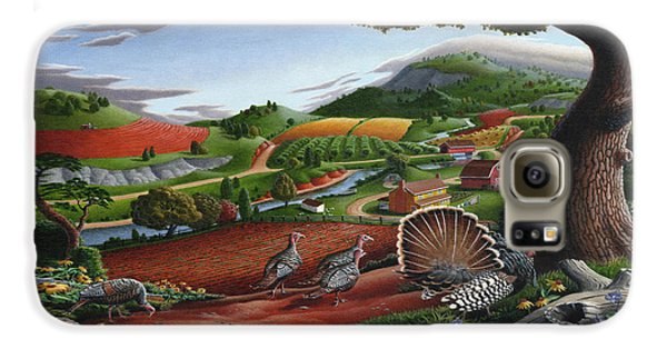 Wild Turkeys Appalachian Thanksgiving Landscape - Childhood Memories - Country Life - Americana Galaxy S6 Case by Walt Curlee