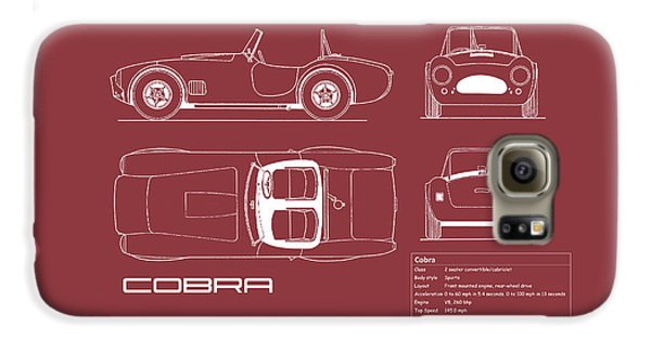 Ac Cobra Blueprint - Red Galaxy S6 Case by Mark Rogan
