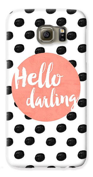 Hello Darling Coral And Dots Galaxy S6 Case by Allyson Johnson