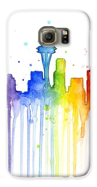 Seattle Rainbow Watercolor Galaxy S6 Case by Olga Shvartsur