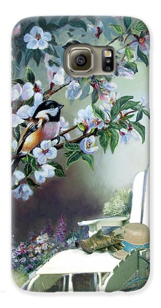 Chickadees In Blossom Tree Galaxy S6 Case by Regina Femrite