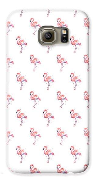 Pink Flamingo Watercolor Pattern Galaxy S6 Case by Olga Shvartsur