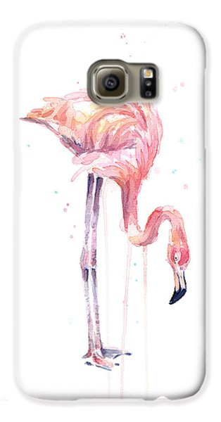 Flamingo Painting Watercolor Galaxy S6 Case by Olga Shvartsur