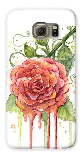 Red Rose Dripping Watercolor  Galaxy S6 Case by Olga Shvartsur