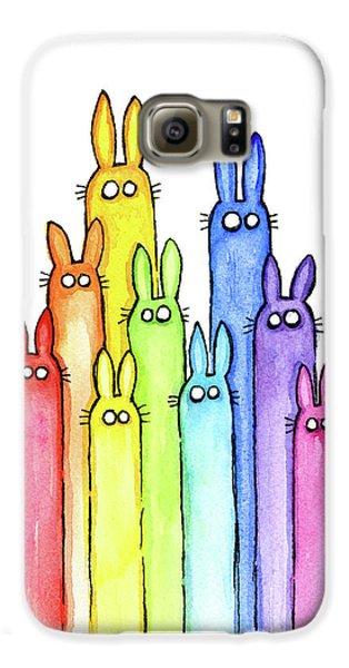 Bunny Rabbits Watercolor Rainbow Galaxy S6 Case by Olga Shvartsur