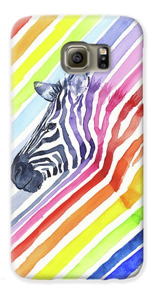 Rainbow Zebra Pattern Galaxy S6 Case by Olga Shvartsur