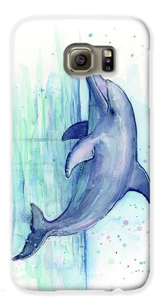 Dolphin Watercolor Galaxy S6 Case by Olga Shvartsur