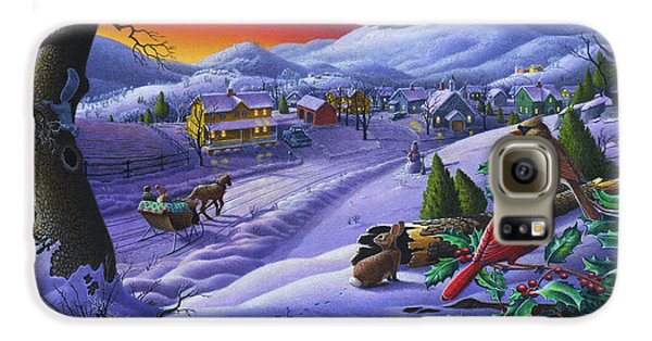 Christmas Sleigh Ride Winter Landscape Oil Painting - Cardinals Country Farm - Small Town Folk Art Galaxy S6 Case by Walt Curlee