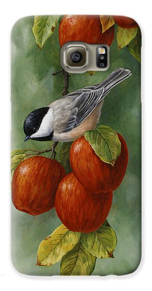 Bird Painting - Apple Harvest Chickadees Galaxy S6 Case by Crista Forest