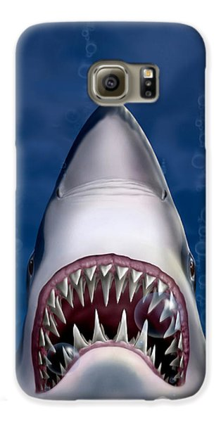 Jaws Great White Shark Art Galaxy S6 Case by Walt Curlee