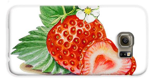 Artz Vitamins A Strawberry Heart Galaxy S6 Case by Irina Sztukowski