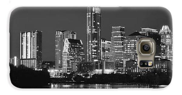 Austin Skyline At Night Black And White Bw Panorama Texas Galaxy S6 Case by Jon Holiday